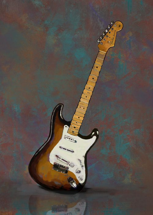 1954 Fender Stratocaster Guitar Greeting Card For Sale By