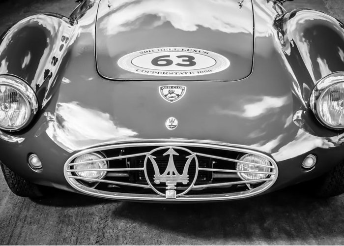 1954 Maserati A6 Gcs Greeting Card featuring the photograph 1954 Maserati A6 Gcs -0255bw by Jill Reger