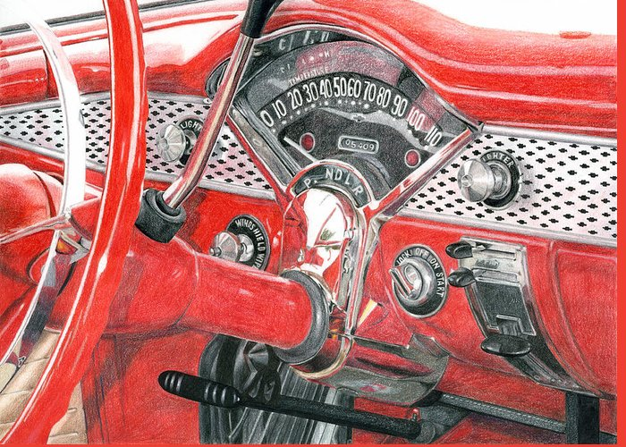 Classic Greeting Card featuring the drawing 1955 Chevrolet Bel Air by Rob De Vries