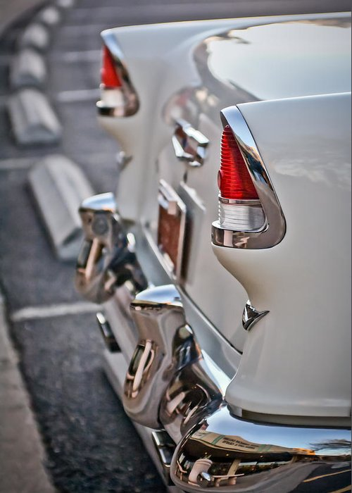 1955 Chevrolet Belair Greeting Card featuring the photograph 1955 Chevrolet Belair Tail Lights by Jill Reger