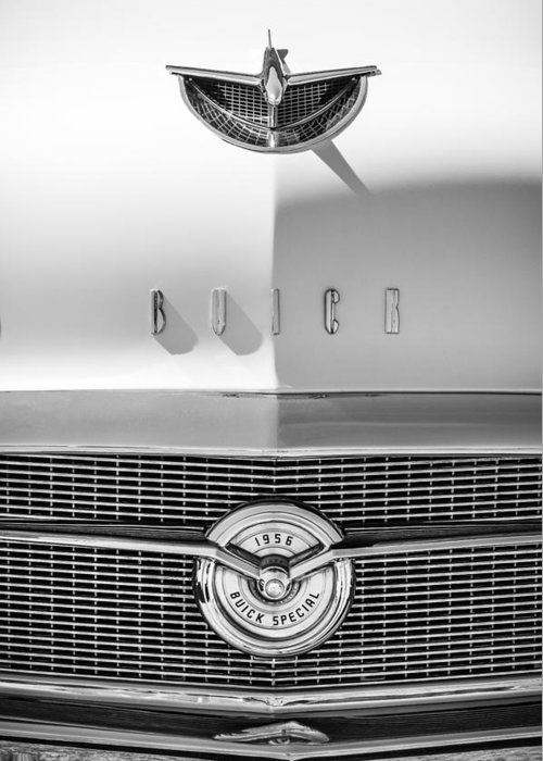 1956 Buick Special Hood Ornament Greeting Card featuring the photograph 1956 Buick Special Hood Ornament - Emblem -0538bw by Jill Reger