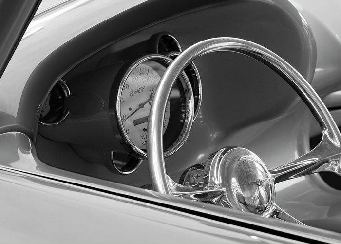 1956 Chrysler Custom 2 Door Sport Wagon Greeting Card featuring the photograph 1956 Chrysler Hot Rod Steering Wheel by Jill Reger