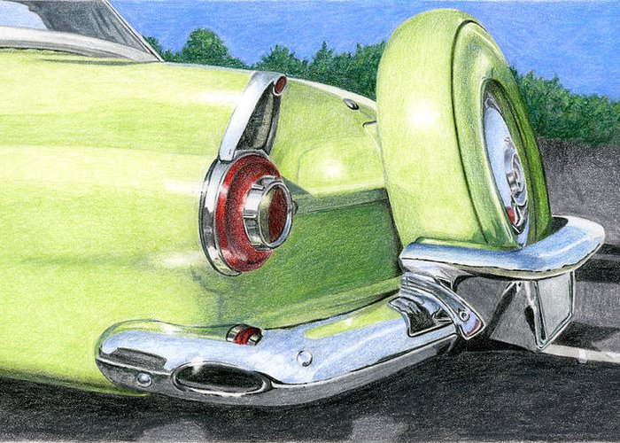 Classic Greeting Card featuring the drawing 1956 Ford Thunderbird by Rob De Vries