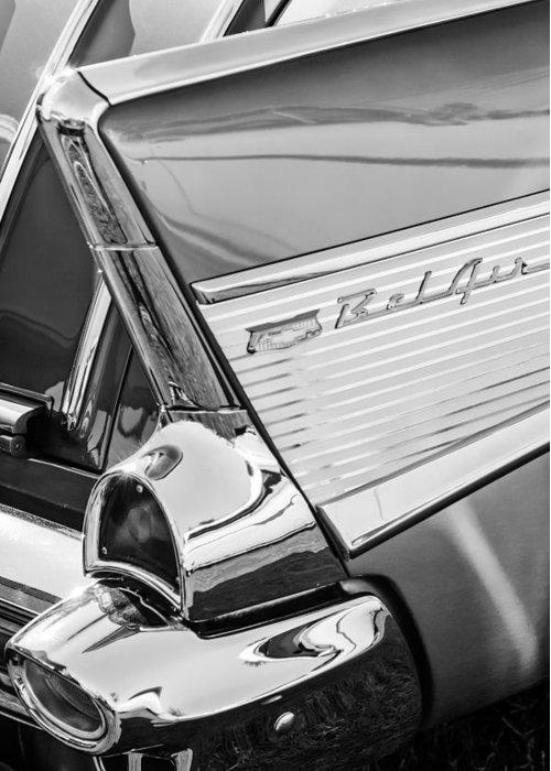 1957 Chevrolet Bel Air Tail Light Emblem Greeting Card featuring the photograph 1957 Chevrolet Bel Air Tail Light Emblem -0140bw by Jill Reger