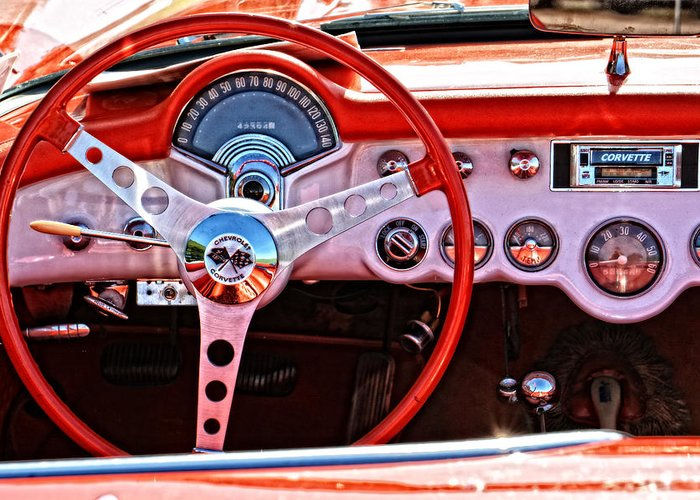 1957 Chevrolet Corvette Interior Greeting Card For Sale By Mike Martin