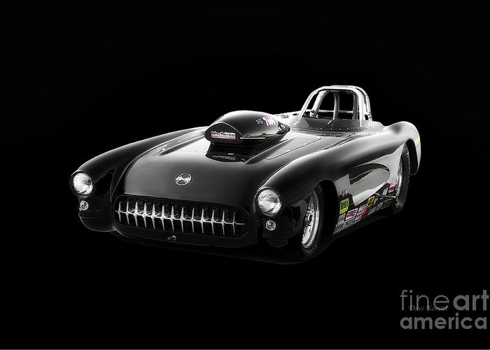 Auto Greeting Card featuring the photograph 1957 Corvette Drag Car by Dave Koontz