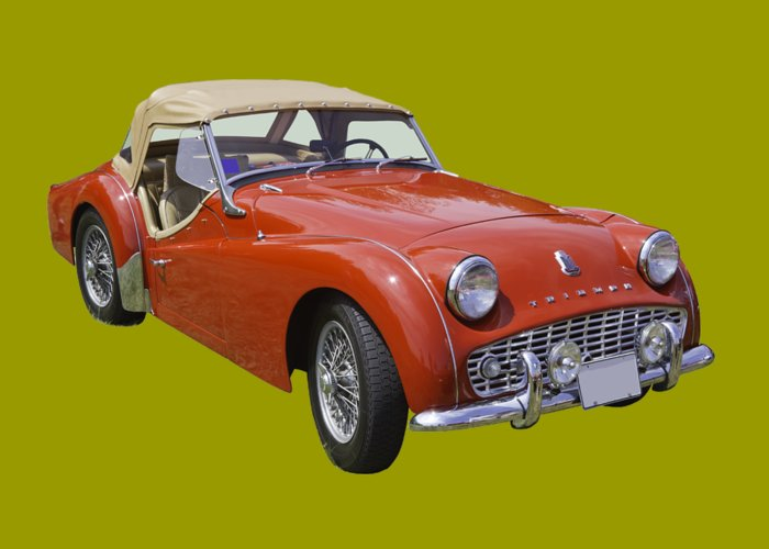 1957 Triumph Tr3 Convertible Sportscar Greeting Card For Sale By