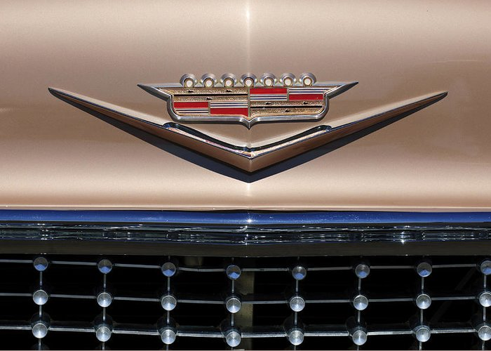 1958 Cadillac Eldorado Barritz Greeting Card featuring the photograph 1958 Cadillac Eldorado Barritz Emblem by Jill Reger