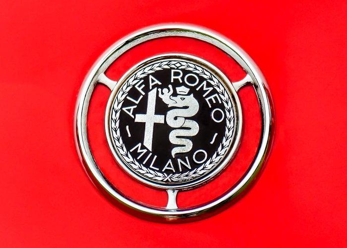 1959 Alfa-romeo Logos Greeting Card featuring the photograph 1959 Alfa-romeo Giulietta Sprint Emblem by Jill Reger