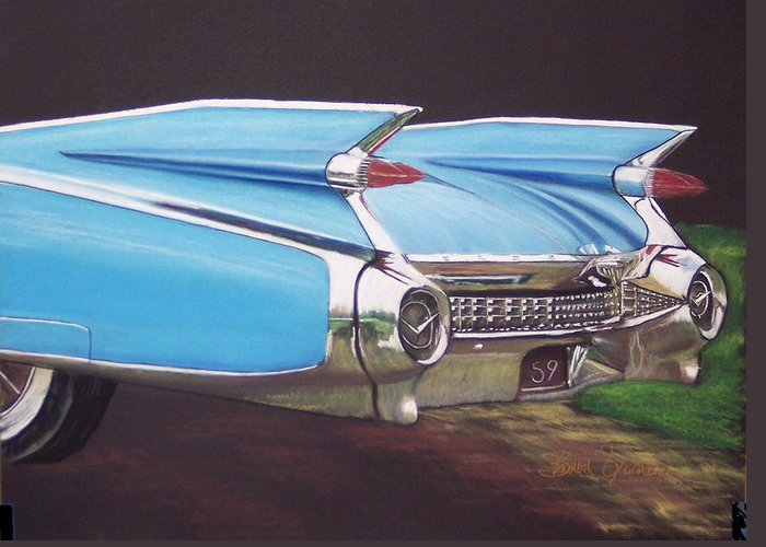American Classic Car Greeting Card featuring the pastel 1959 Cadillac by Sharon Quarles