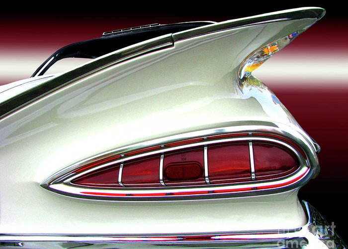 Transportation Greeting Card featuring the photograph 1959 Chevrolet Impala Tail by Peter Piatt
