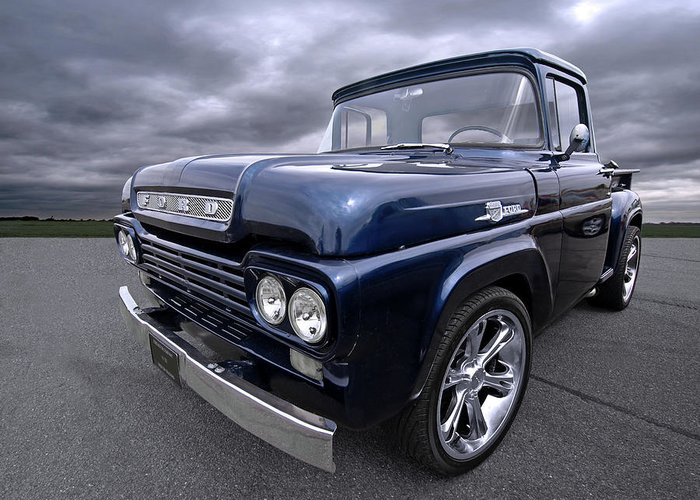 1959 Ford F100 Dark Blue Pickup Greeting Card For Sale By Gill