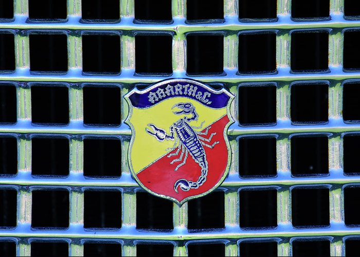 1960 Fiat Lusso Greeting Card featuring the photograph 1960 Fiat Lusso Emblem by Jill Reger