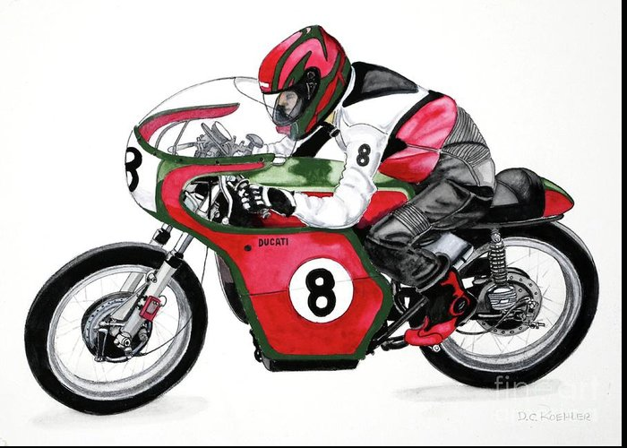 1960's Ducati 250cc Desmo Greeting Card featuring the painting 1960s Ducati Desmo by Donald Koehler