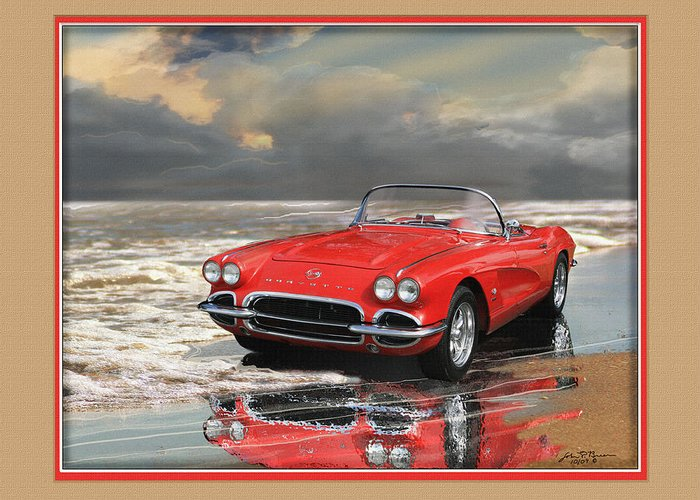 Chevy Vette Corvette Greeting Card featuring the painting 1962 Corvette by John Breen