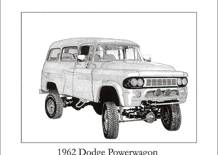 1962 Dodge Powerwagon Greeting Card featuring the drawing 1962 Dodge Powerwagon by Jack Pumphrey