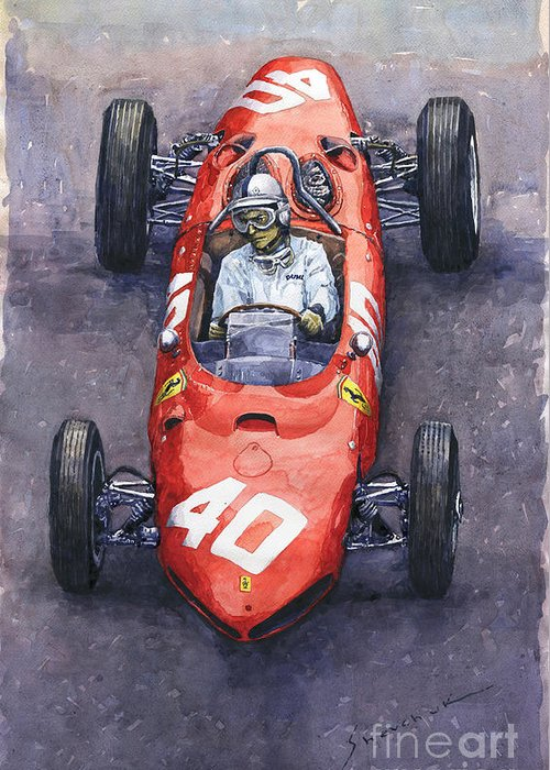 Painting Greeting Card featuring the painting 1962 Monaco Gp Willy Mairesse Ferrari 156 Sharknose by Yuriy Shevchuk