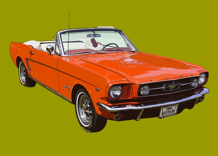 d082a759 1965 Red Convertible Ford Mustang - Classic Car Greeting Card for ...