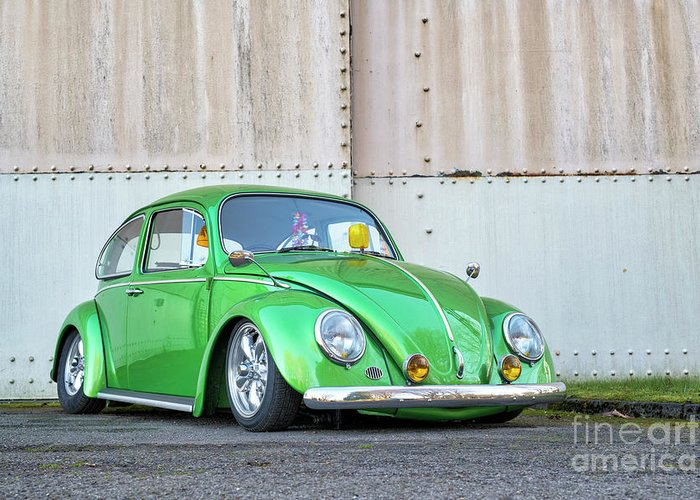 Beetles Greeting Card featuring the photograph 1966 Custom Green Beetle by Tim Gainey