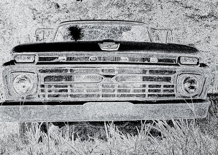 1966 Ford F100 Sketch Greeting Card featuring the photograph 1966 Ford F100 Sketch by Lisa Wooten