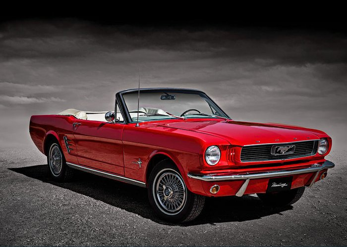 Mustang Greeting Card featuring the digital art 1966 Ford Mustang Convertible by Douglas Pittman