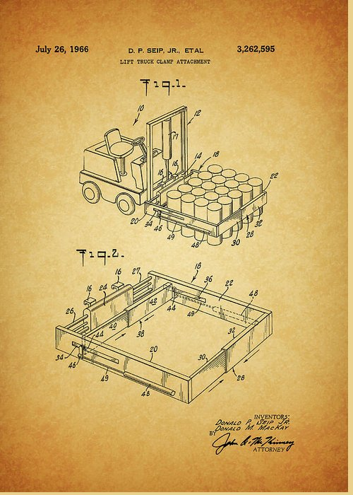 1966 Forklift Clamp Patent Greeting Card featuring the mixed media 1966 Forklift Clamp Patent by Dan Sproul