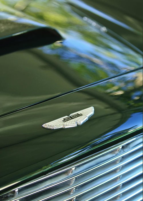 1967 Aston Martin Db6 Coupe Greeting Card featuring the photograph 1967 Aston Martin Db6 Coupe Hood Emblem by Jill Reger