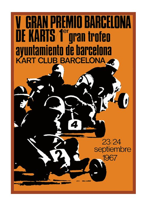 Go Kart Greeting Card featuring the digital art 1967 Barcelona Kart Racing Poster by Retro Graphics