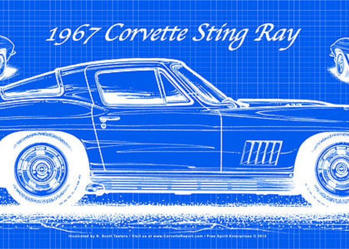1967 Corvette Greeting Card featuring the drawing 1967 Corvette Sting Ray Coupe Reversed Blueprint by K Scott Teeters