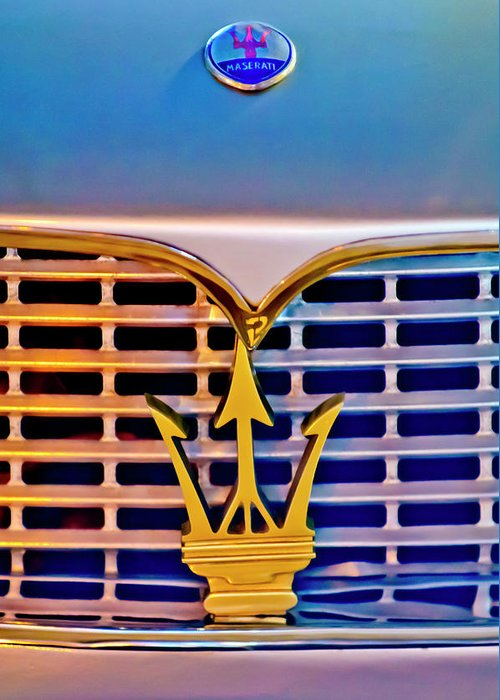 1967 Maserati Sebring Coupe Greeting Card featuring the photograph 1967 Maserati Sebring Coupe Emblem by Jill Reger