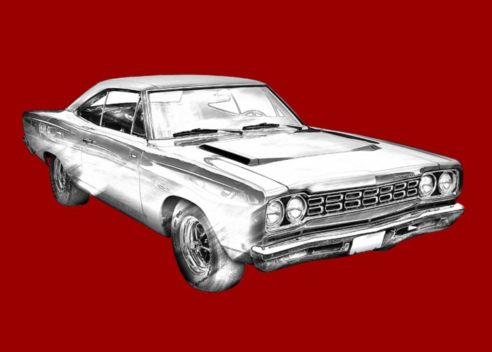 1968 Plymouth Roadrunner Muscle Car Illustration Greeting Card For