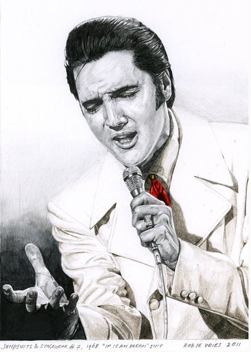 Elvis Greeting Card featuring the drawing 1968 White If I Can Dream Suit by Rob De Vries