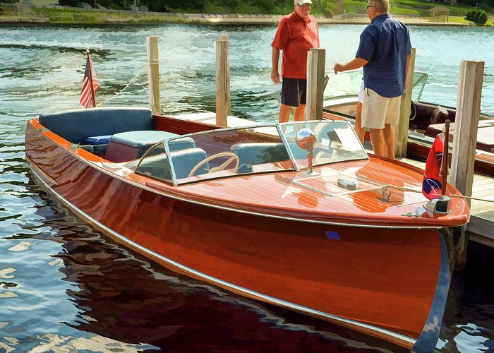 Boat Greeting Card featuring the photograph 1969 Chris-craft by Dave Thompsen