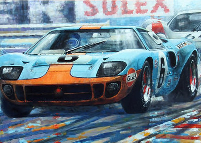 Paintings Greeting Card Featuring The Painting  Le Mans  Ford Gt  Ickx Oliver Winner