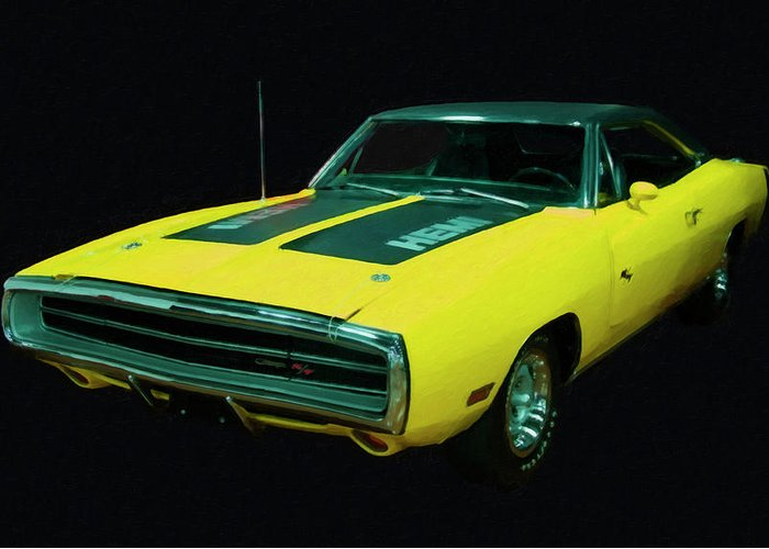 1970 Dodge Charger Rt Hemi Digital Oil Greeting Card For Sale By