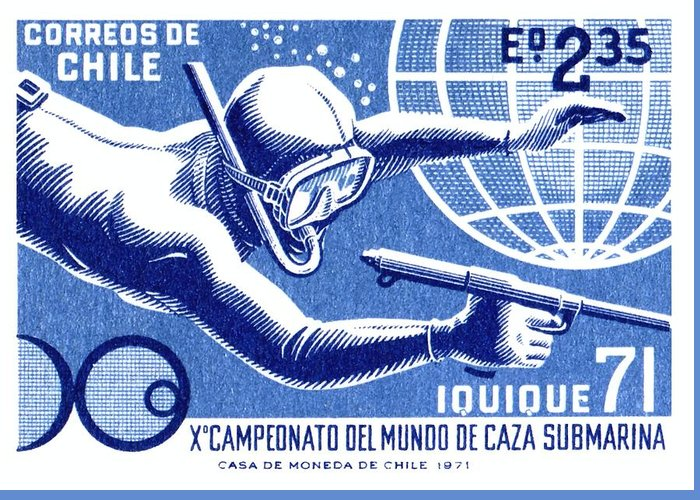 Chile Stamp Greeting Card Featuring The Digital Art 1971 Spearfishing Championship Postage By Retro