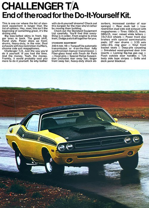 1971 Greeting Card featuring the digital art 1971 Dodge Challenger T/a by Digital Repro Depot