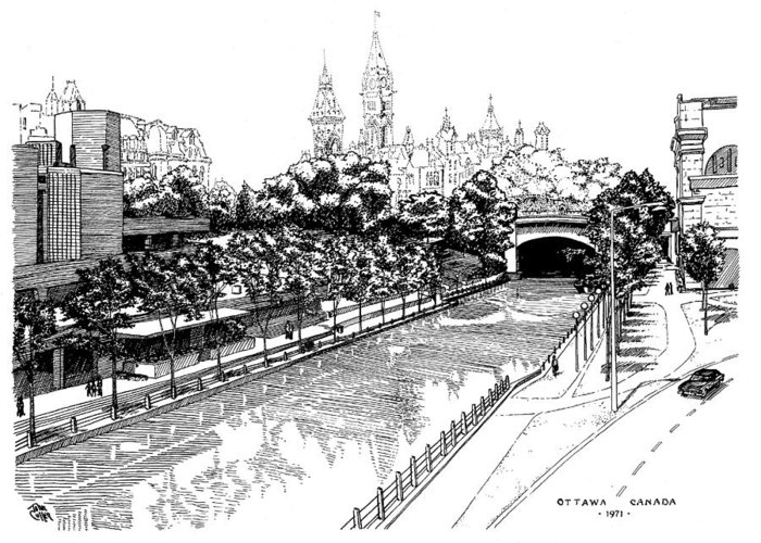 Cityscape Greeting Card featuring the drawing 1971 Rideau Canal Ottawa by John Cullen