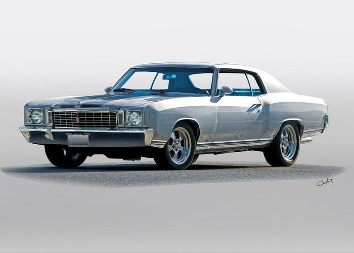 Automobile Greeting Card featuring the photograph 1972 Chevrolet Monte Carlo by Dave Koontz