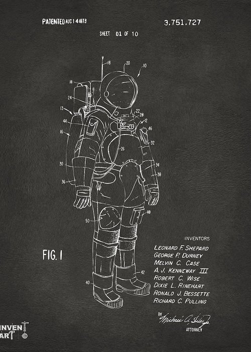 Space Suit Greeting Card featuring the digital art 1973 Space Suit Patent Inventors Artwork - Gray by Nikki Marie Smith