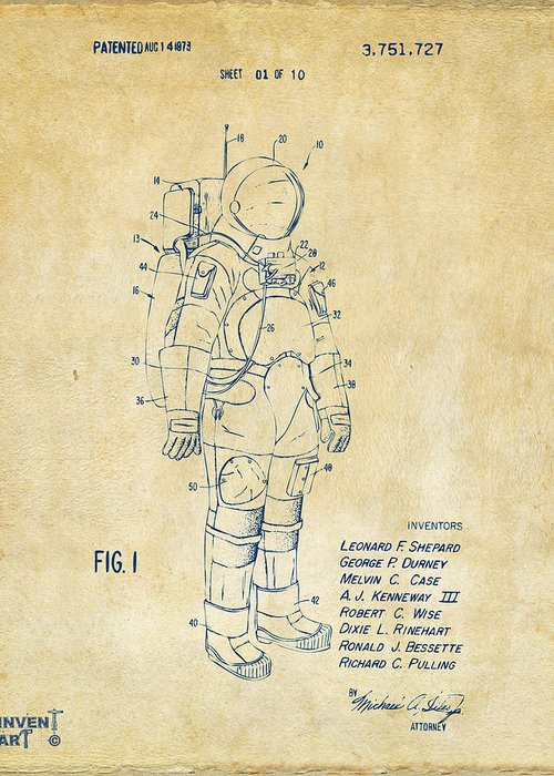 Space Suit Greeting Card featuring the digital art 1973 Space Suit Patent Inventors Artwork - Vintage 1973 by Nikki Marie Smith