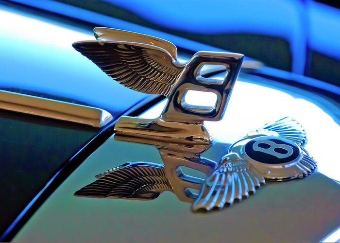 1980 Bentley Greeting Card featuring the photograph 1980 Bentley Hood Ornament by Jill Reger
