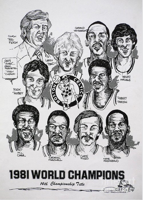Nba Greeting Card featuring the drawing 1981 Boston Celtics Championship Newspaper Poster by Dave Olsen