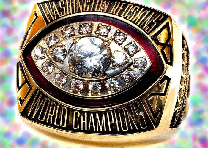 Redskins Greeting Card featuring the photograph 1982 Redskins Super Bowl Ring by Paul Van Scott