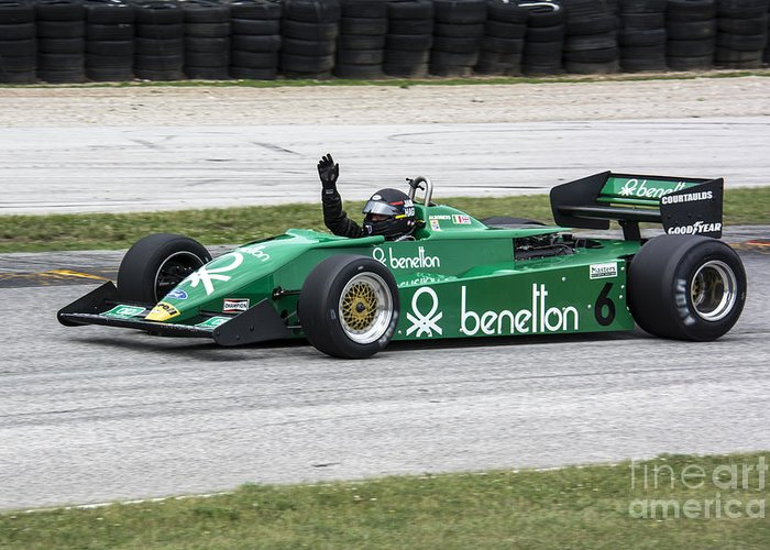 Automobile Greeting Card featuring the photograph 1983 Tyrrell 011 F1 At Road America by Tad Gage