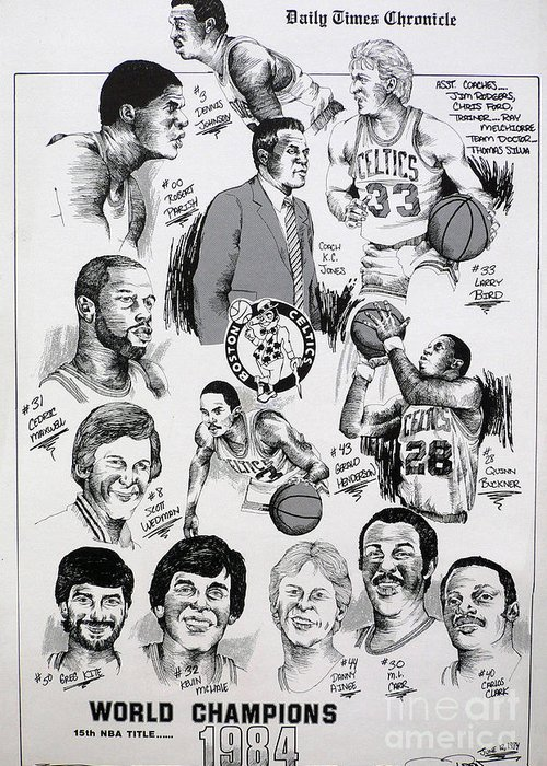 Nba Greeting Card featuring the drawing 1984 Boston Celtics Championship Newspaper Poster by Dave Olsen