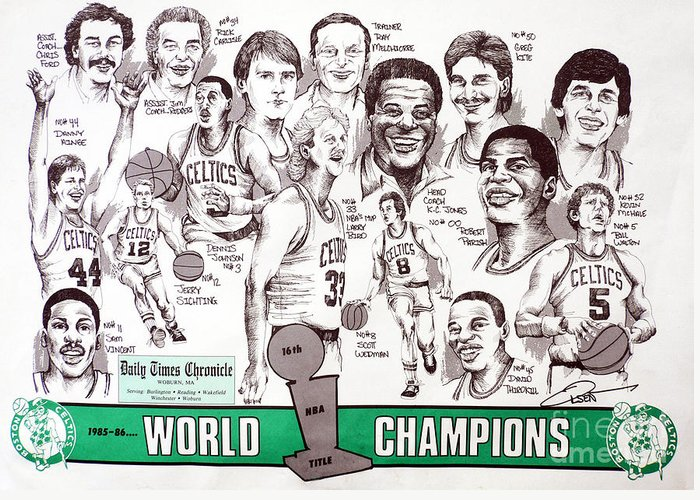 Nba Greeting Card featuring the drawing 1986 Boston Celtics Championship Newspaper Poster by Dave Olsen