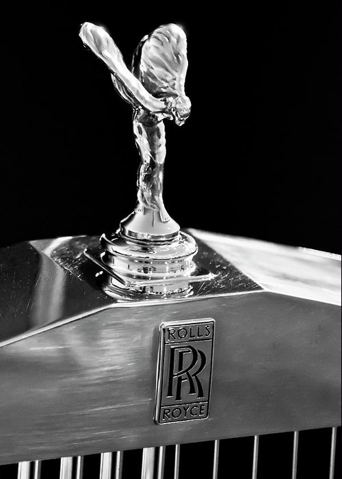 1986 Rolls-royce Greeting Card featuring the photograph 1986 Rolls-royce Hood Ornament 2 by Jill Reger