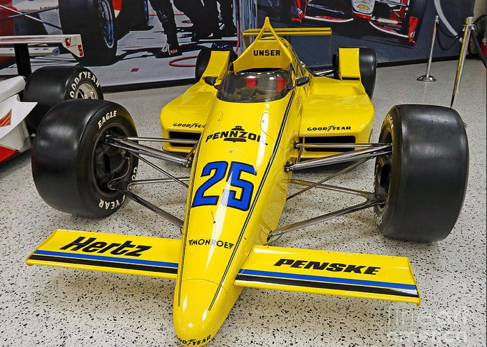 Indianapolis Greeting Card featuring the photograph 1987 Indianapolis 500 Winner Al Unser by Steve Gass