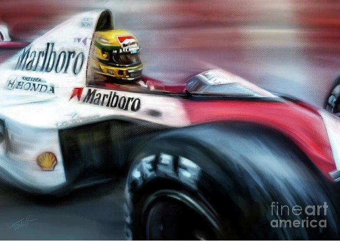 Monaco Greeting Card featuring the mixed media Racing 1989 Monaco Grand Prix by Mark Tonelli